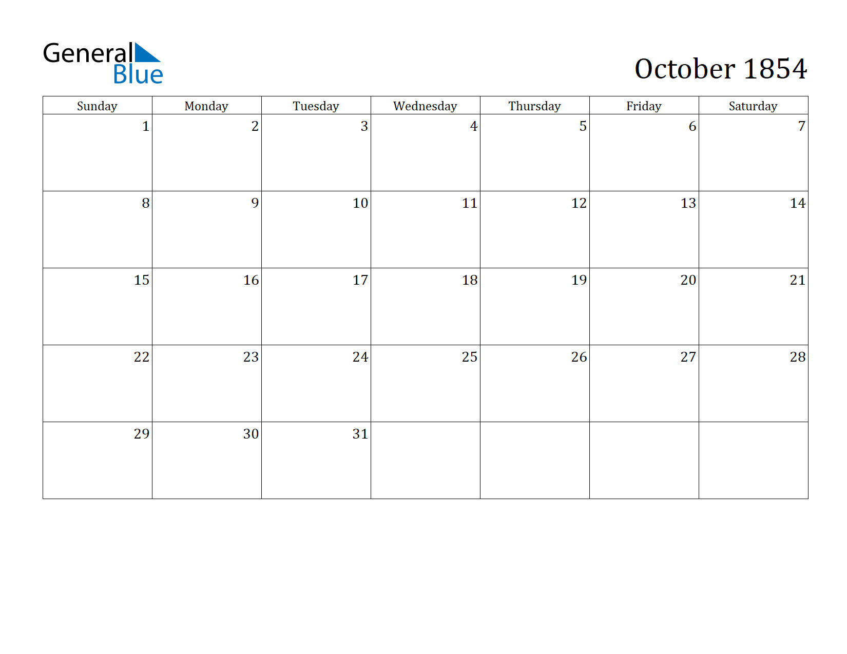 Image of October 1854 Calendar