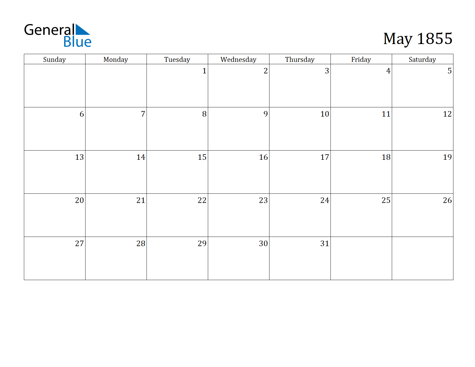 Image of May 1855 Calendar
