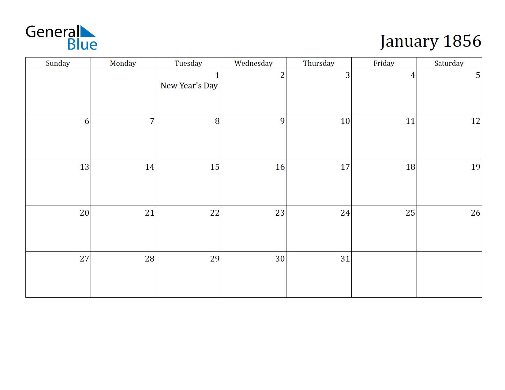 Image of January 1856 Calendar