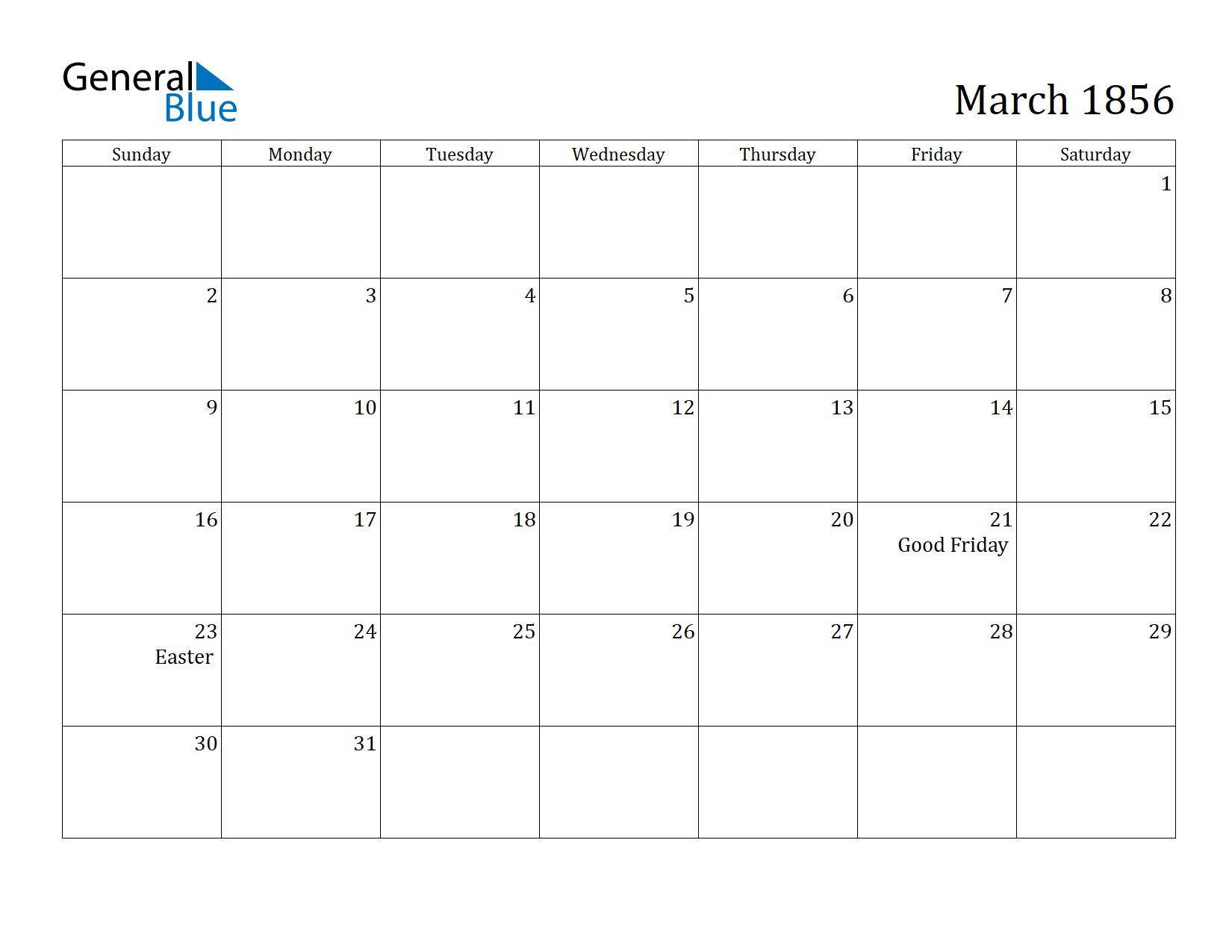 Image of March 1856 Calendar