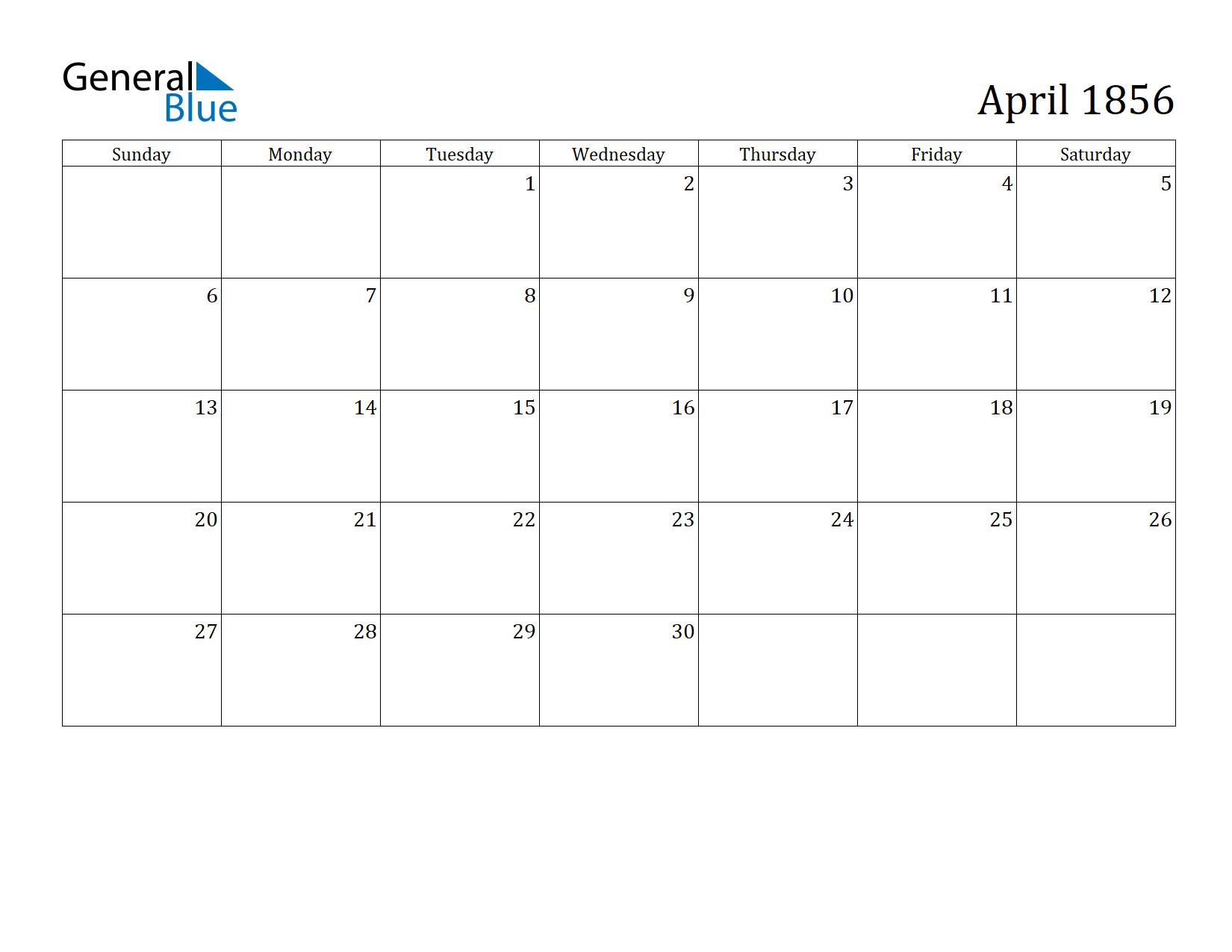 Image of April 1856 Calendar