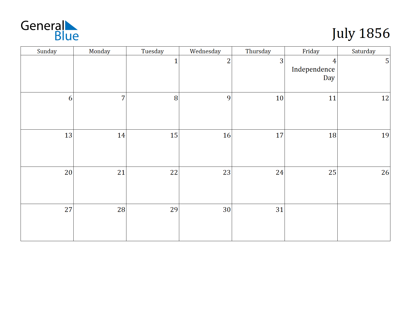 Image of July 1856 Calendar