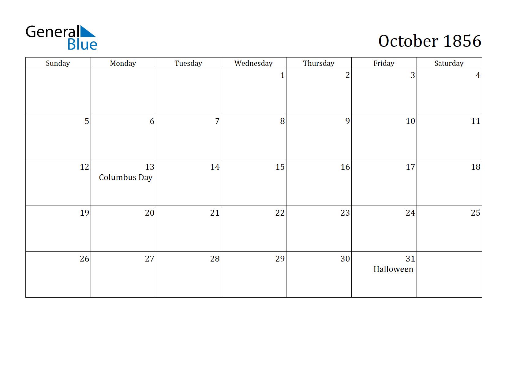 Image of October 1856 Calendar