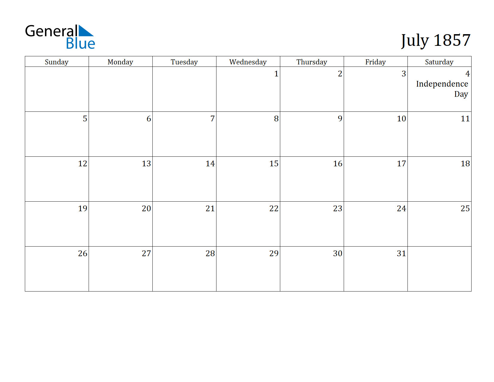 Image of July 1857 Calendar