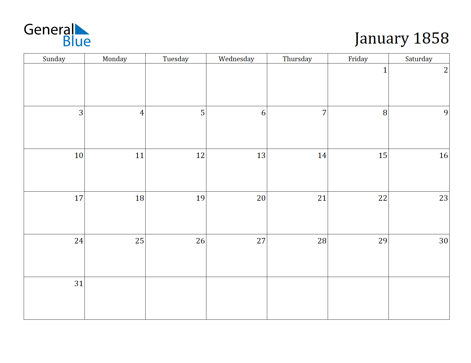 Image of January 1858 Calendar