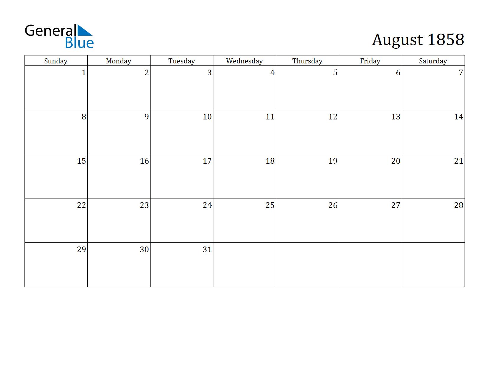 Image of August 1858 Calendar