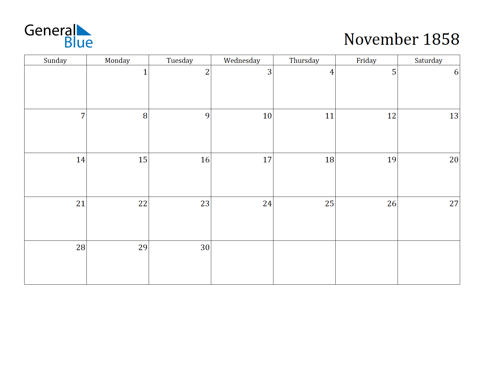Image of November 1858 Calendar