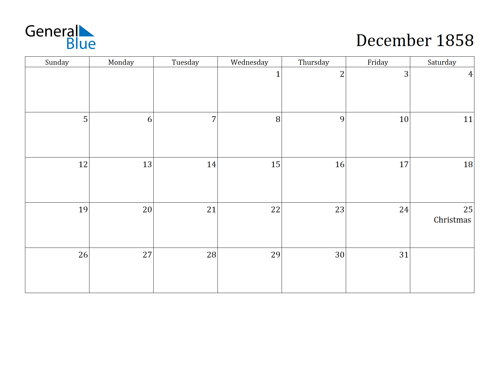 Image of December 1858 Calendar