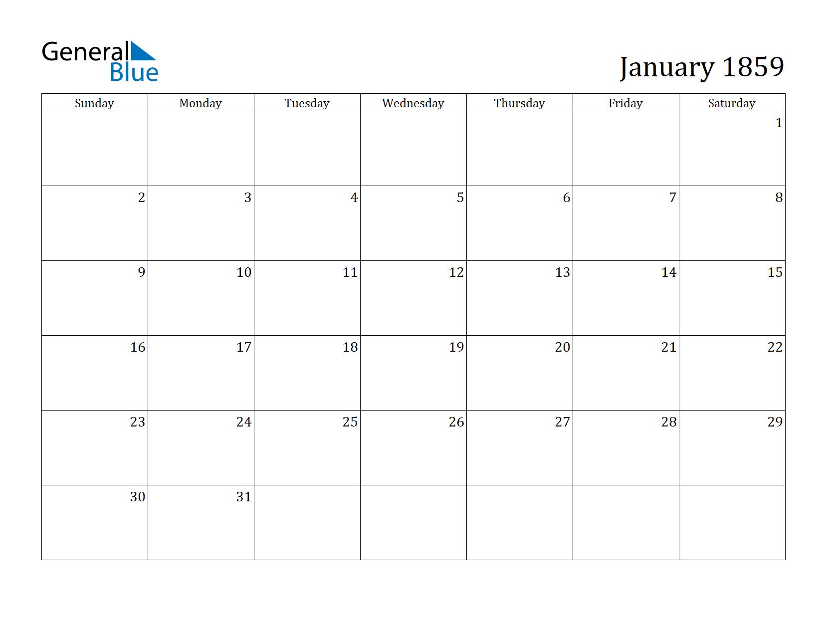 Image of January 1859 Calendar