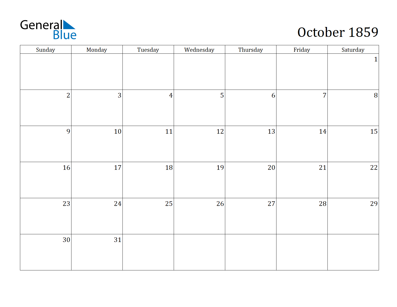 Image of October 1859 Calendar