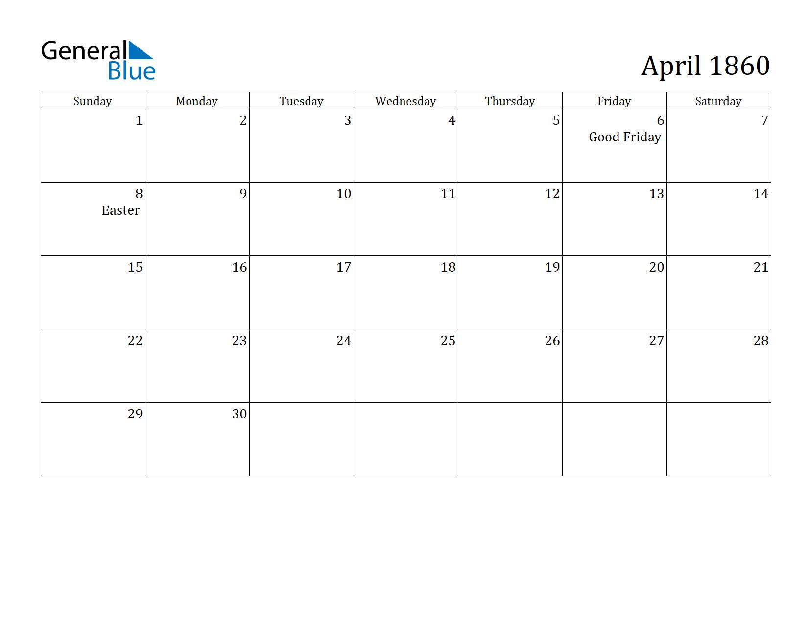 Image of April 1860 Calendar
