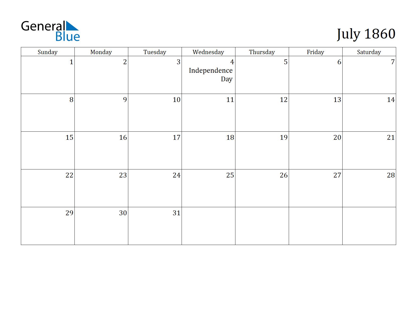 Image of July 1860 Calendar