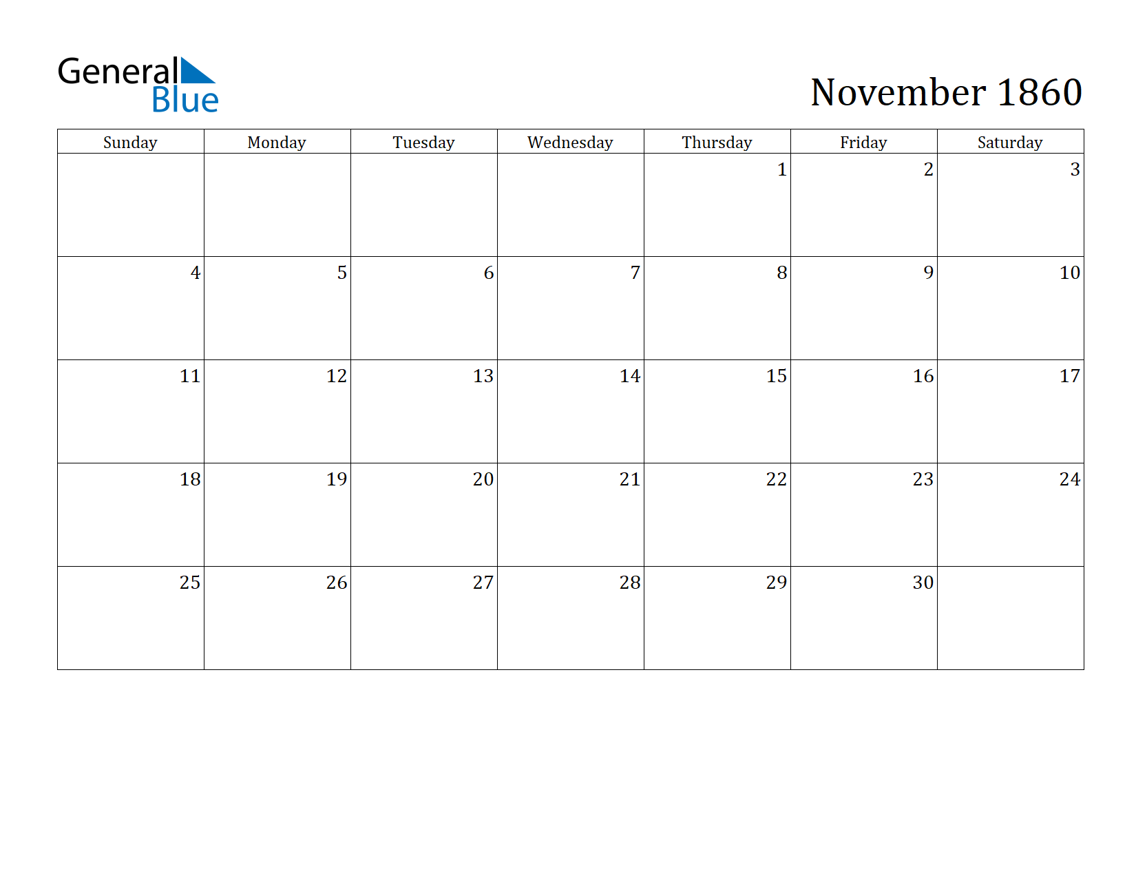 Image of November 1860 Calendar