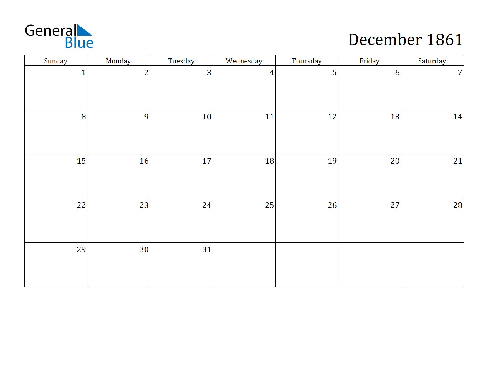 Image of December 1861 Calendar