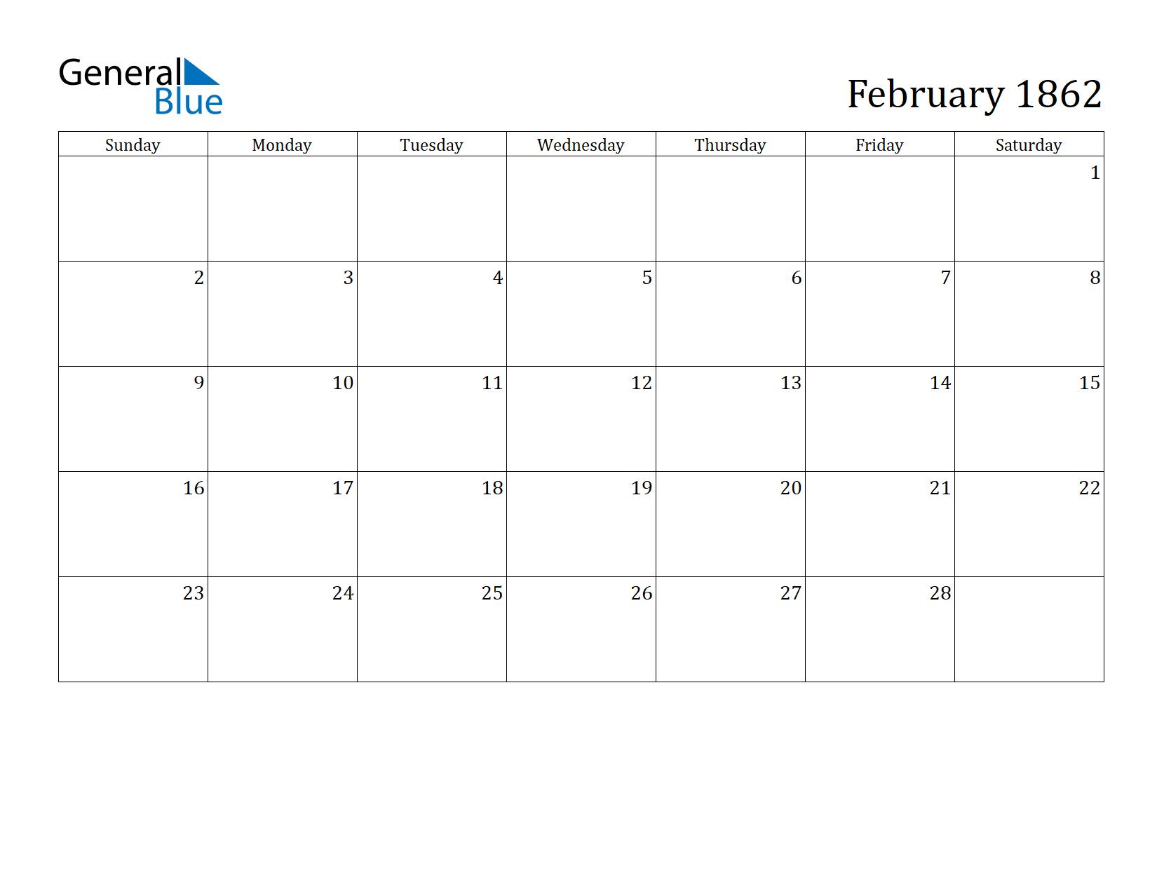 Image of February 1862 Calendar