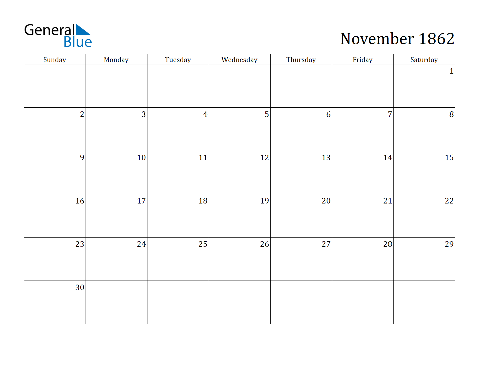 Image of November 1862 Calendar