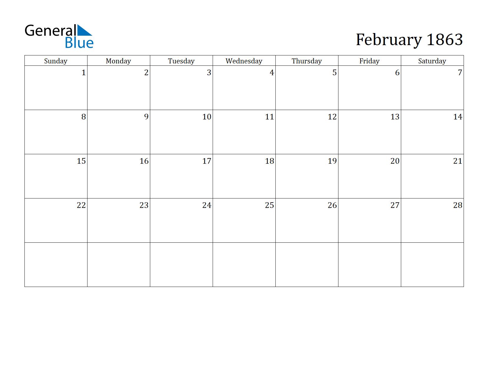 Image of February 1863 Calendar
