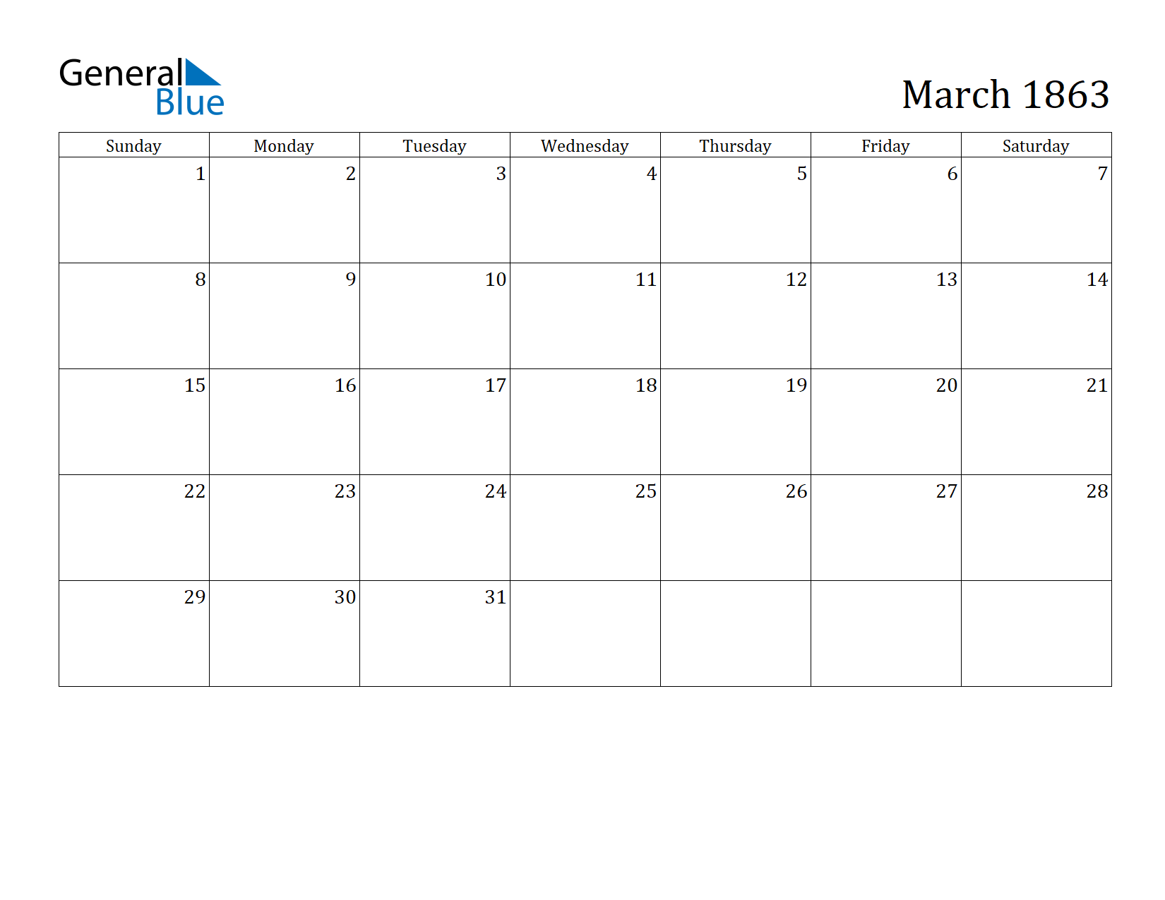 Image of March 1863 Calendar