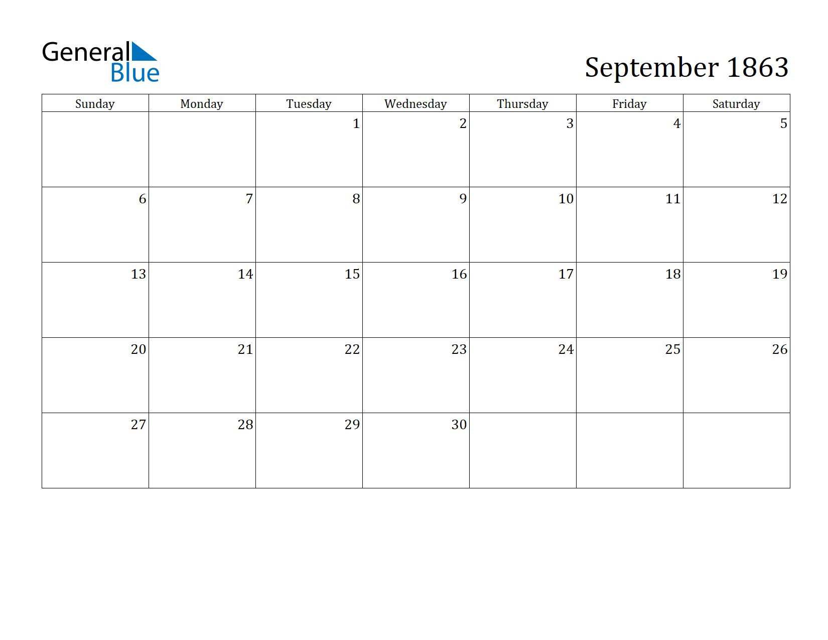 Image of September 1863 Calendar