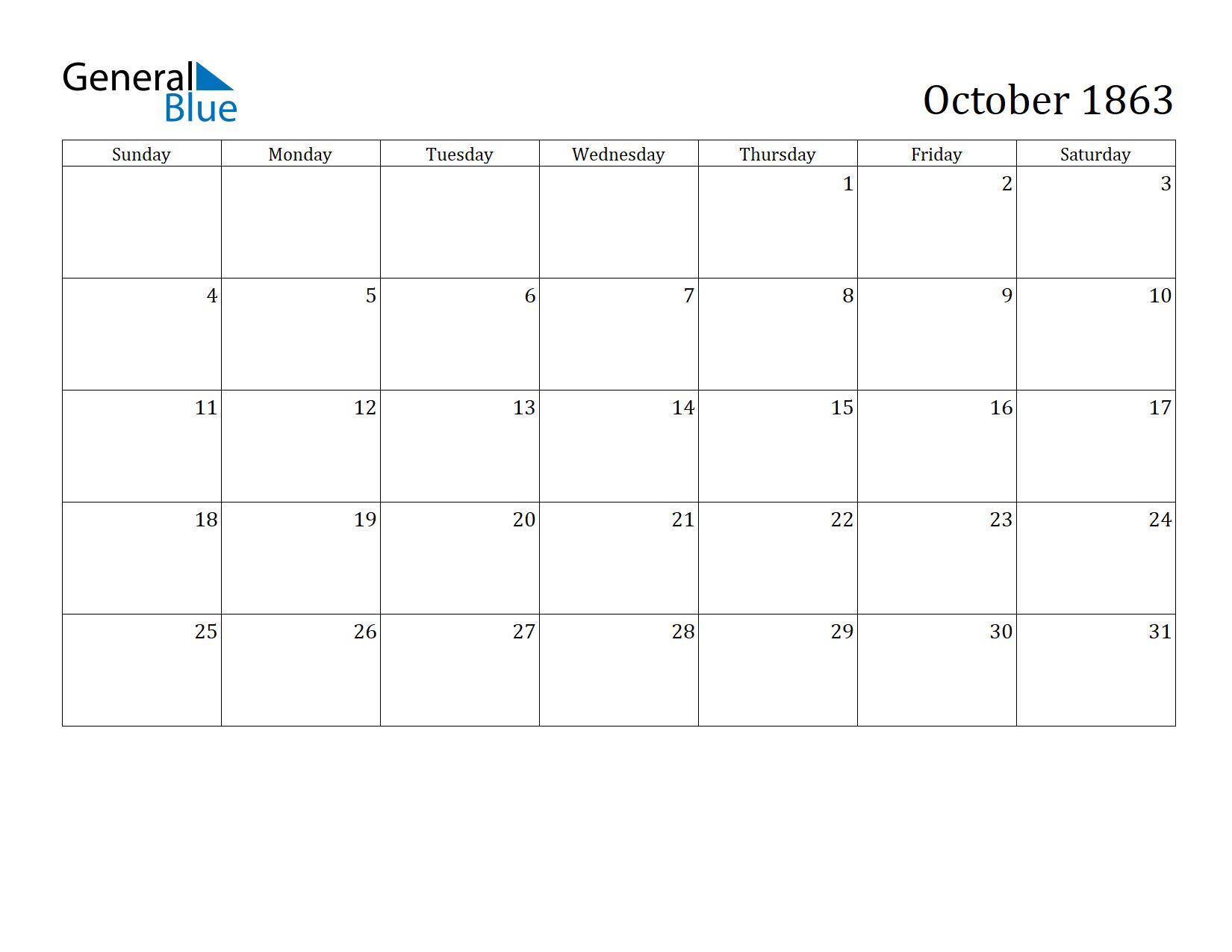 Image of October 1863 Calendar