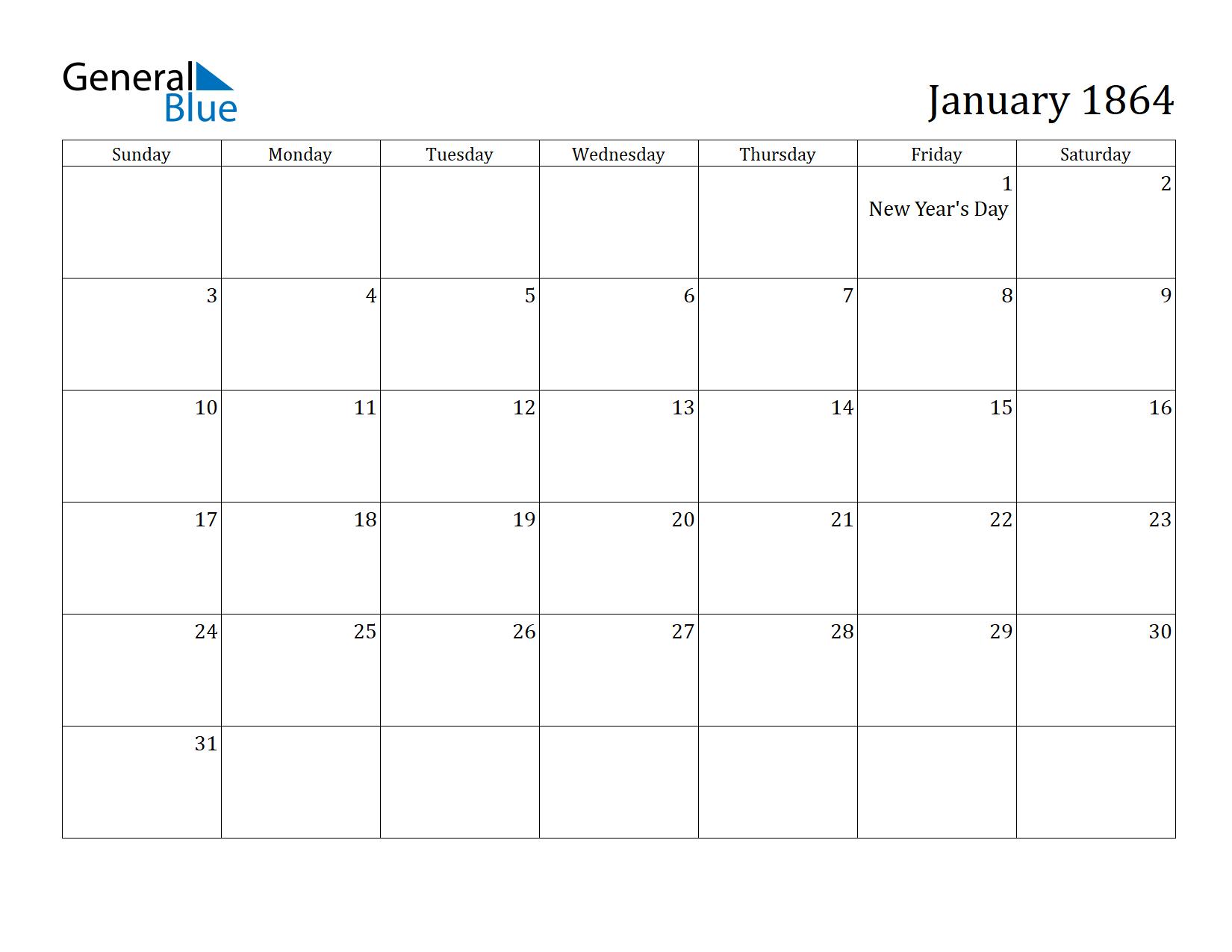 Image of January 1864 Calendar