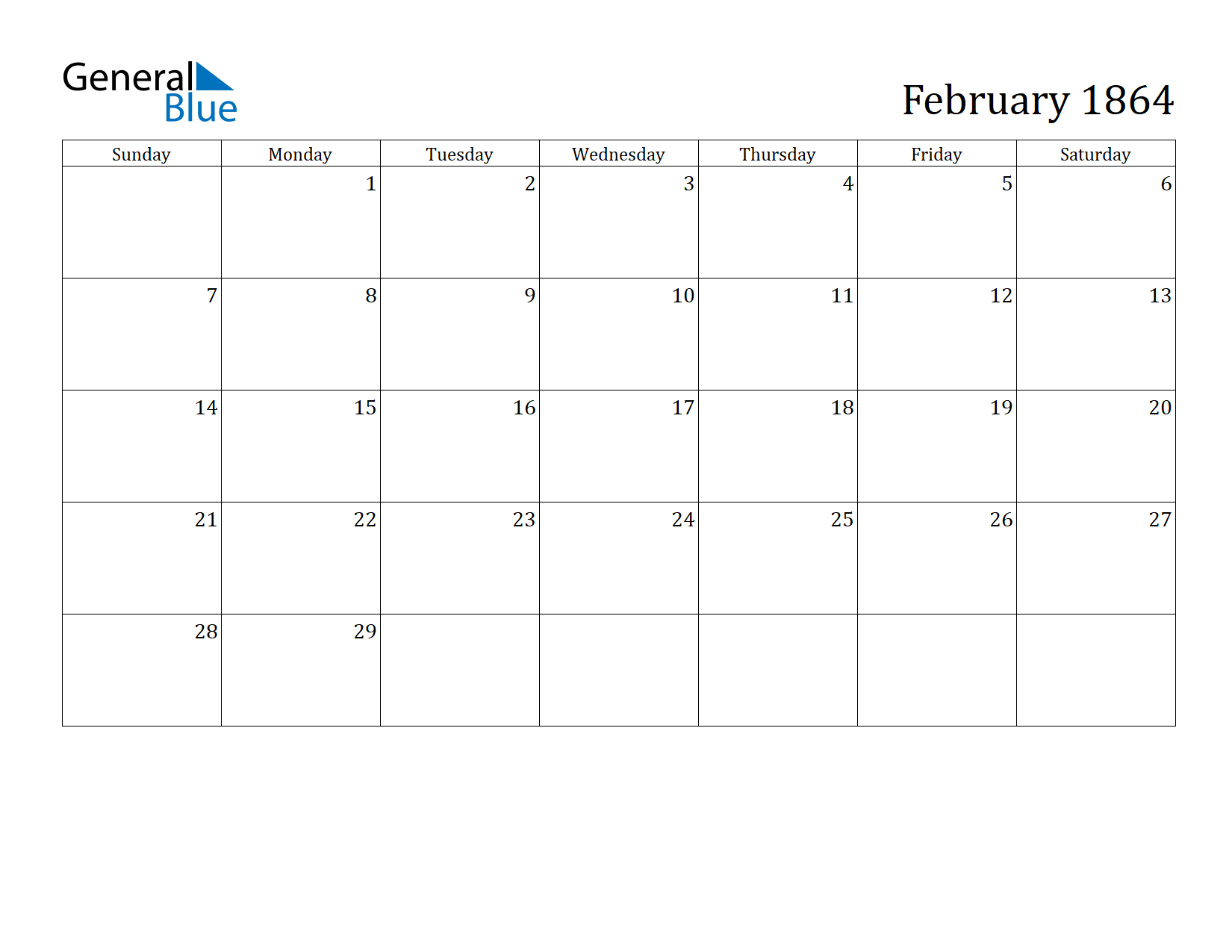 Image of February 1864 Calendar