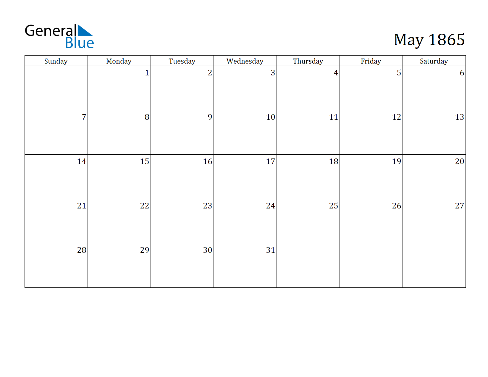 Image of May 1865 Calendar