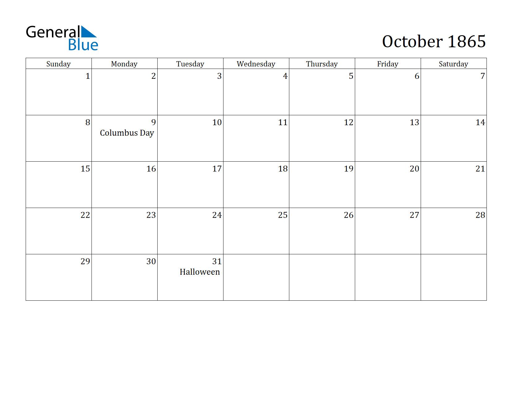 Image of October 1865 Calendar