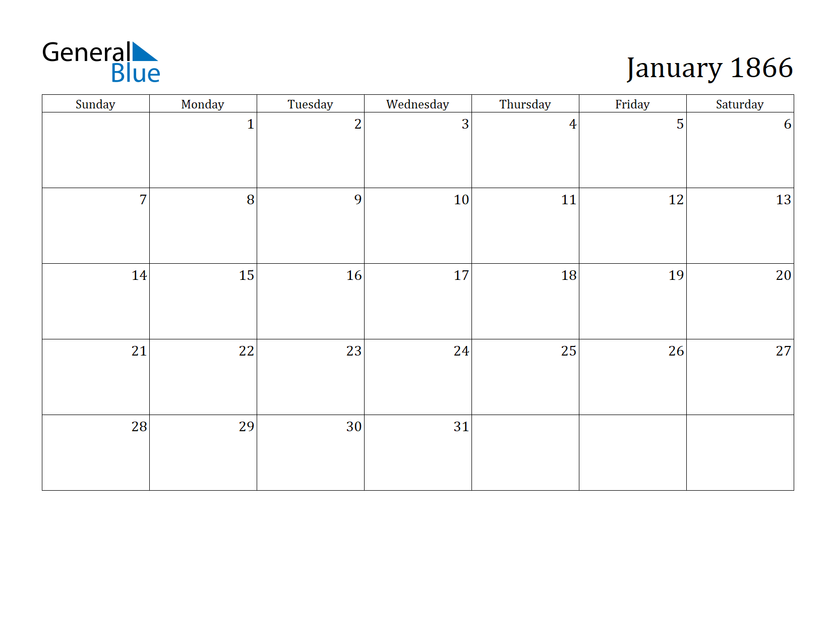 Image of January 1866 Calendar