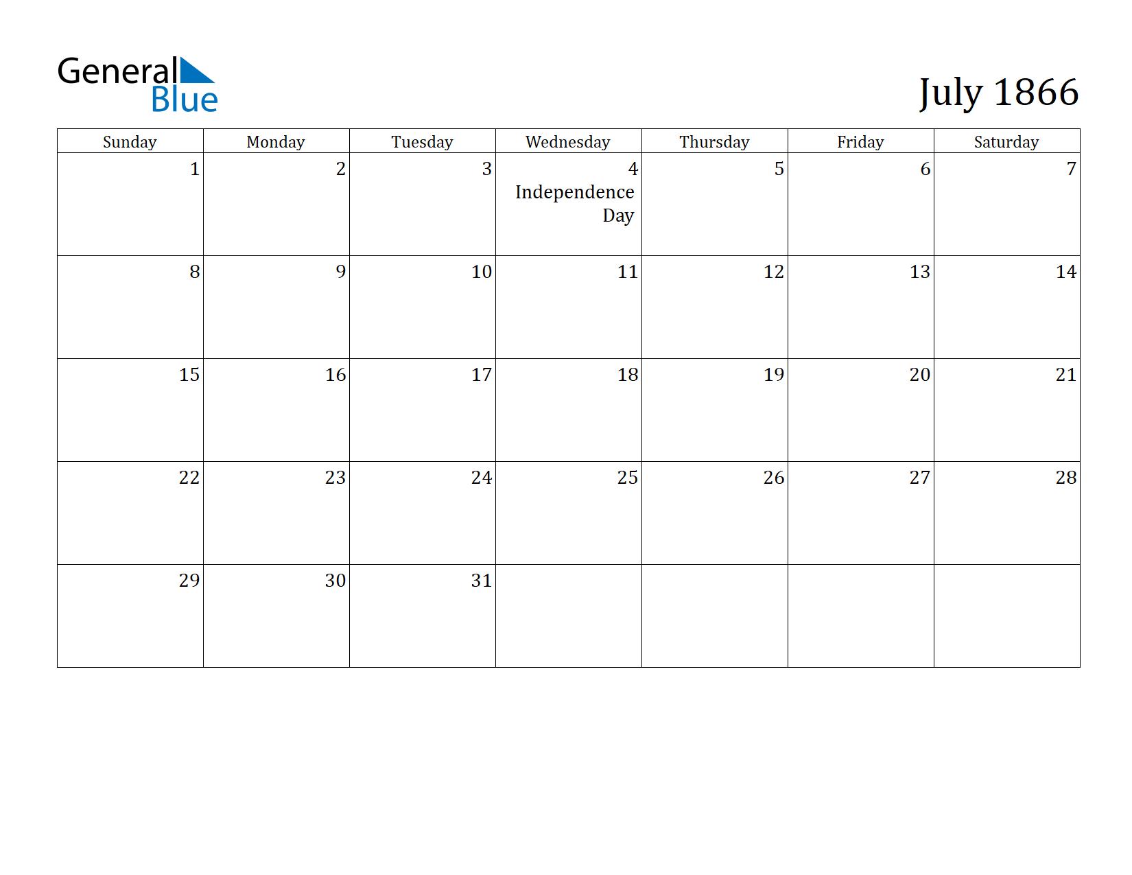 Image of July 1866 Calendar