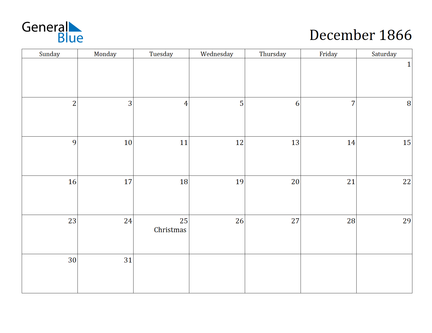 Image of December 1866 Calendar
