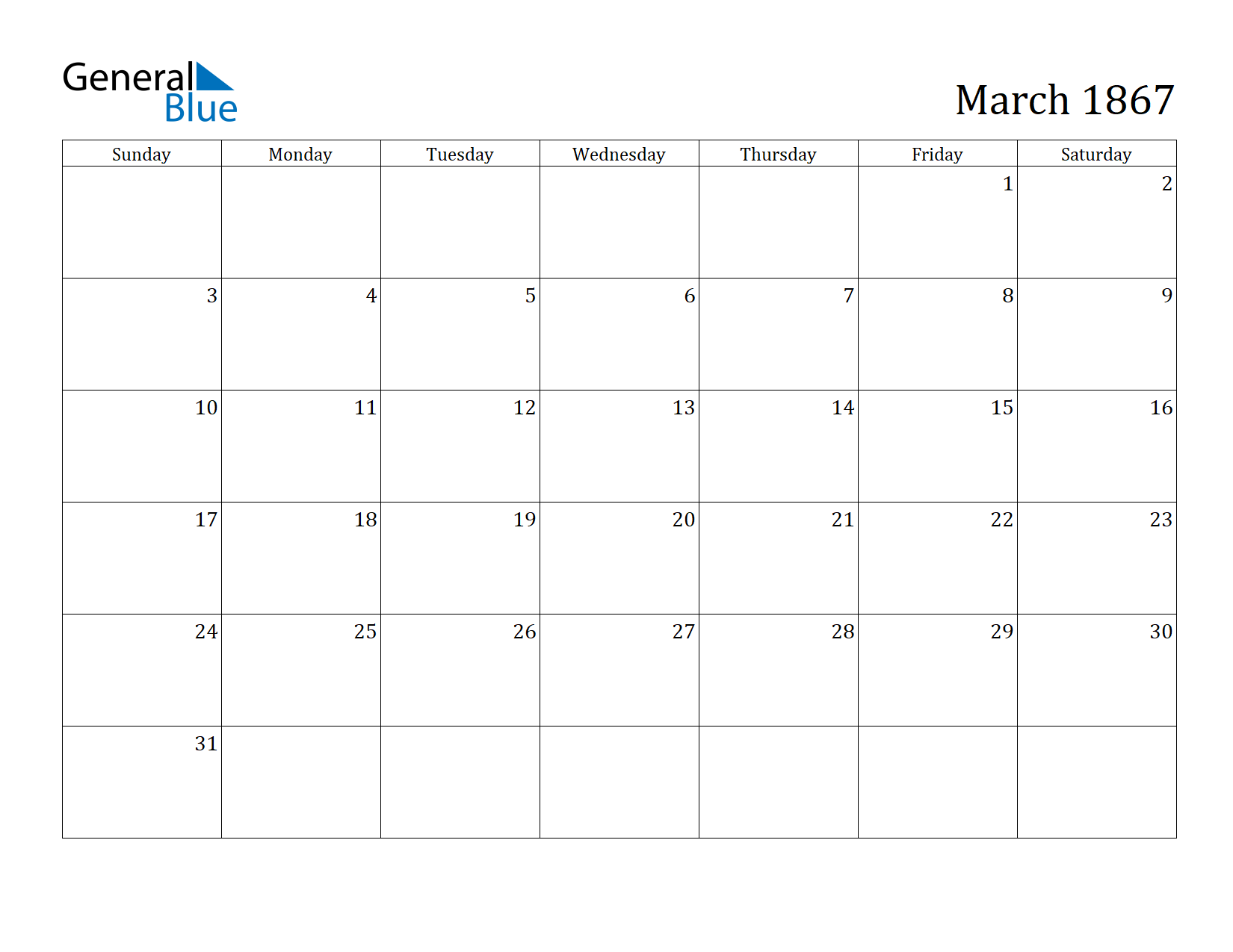 Image of March 1867 Calendar