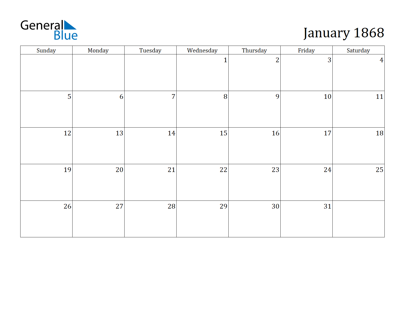 Image of January 1868 Calendar