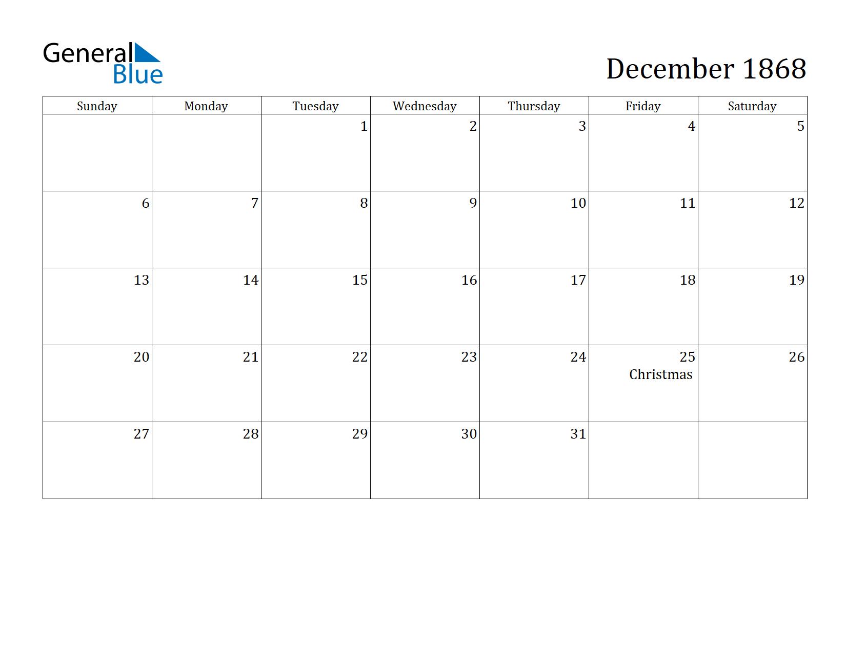 Image of December 1868 Calendar
