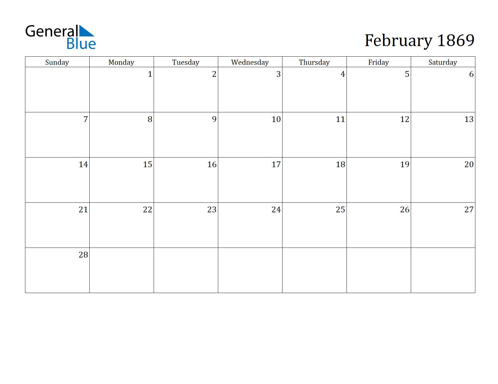 Image of February 1869 Calendar