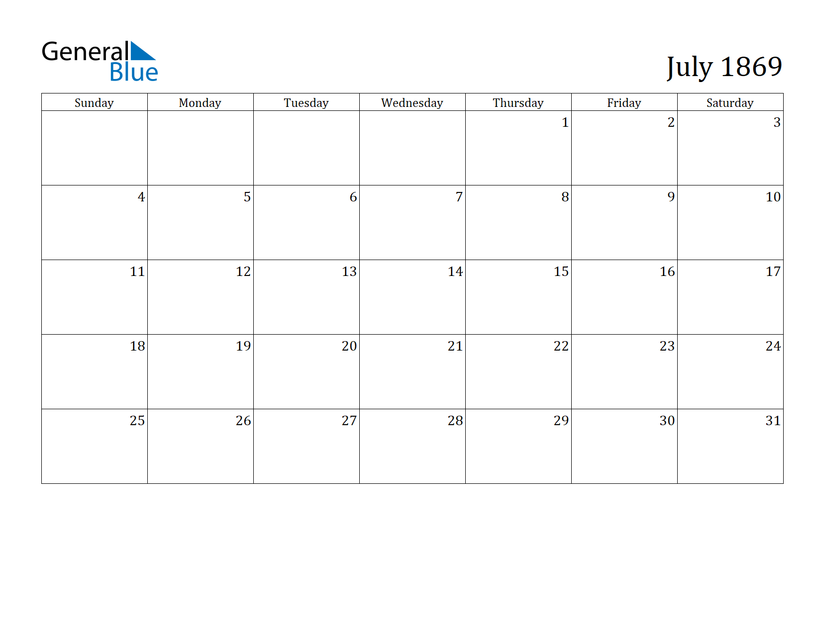 Image of July 1869 Calendar