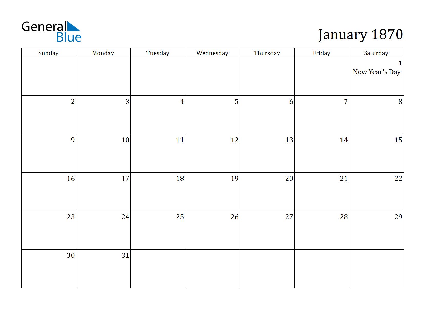 Image of January 1870 Calendar