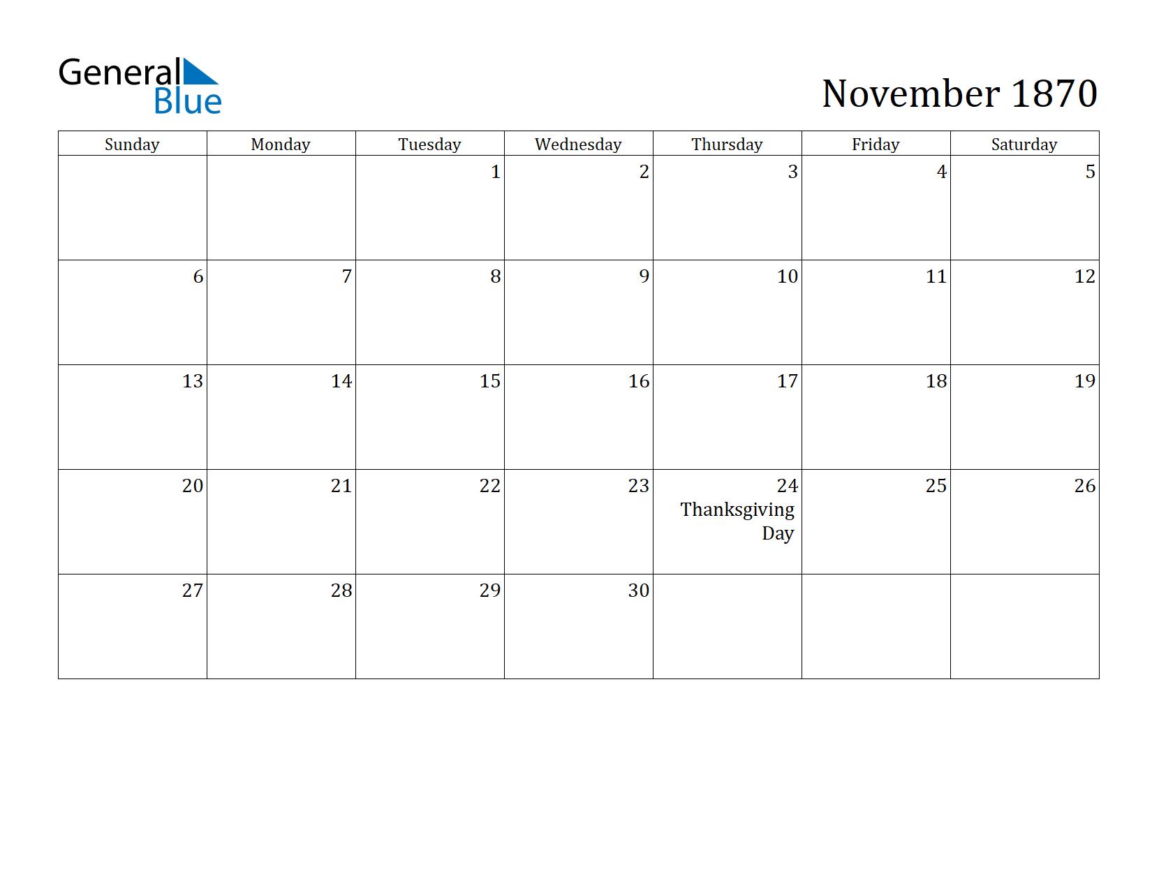 Image of November 1870 Calendar