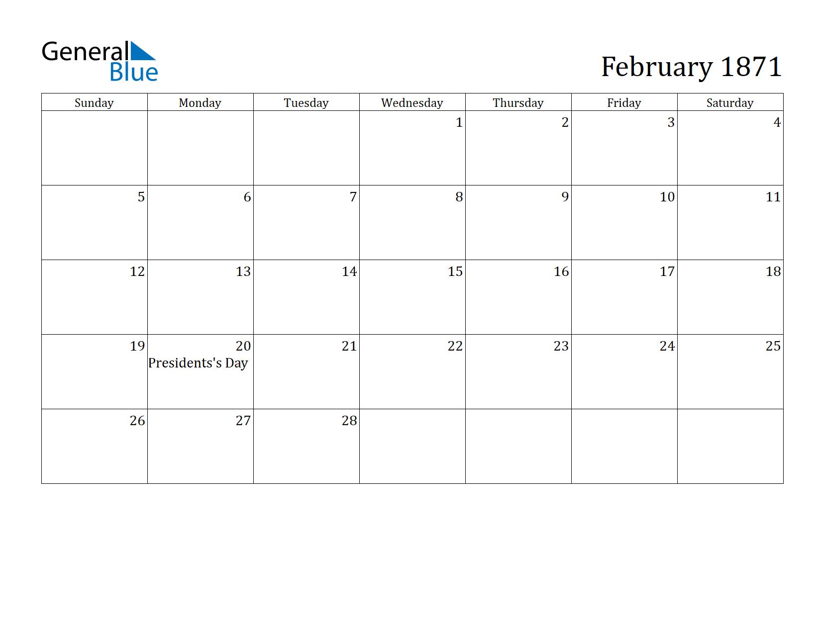 Image of February 1871 Calendar
