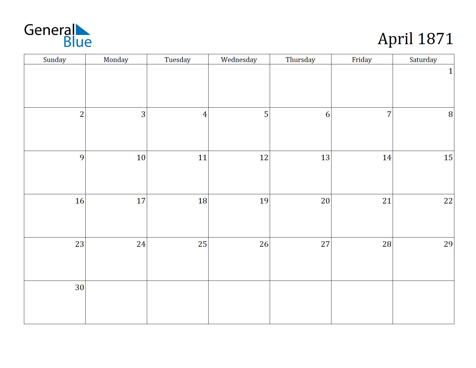 Image of April 1871 Calendar
