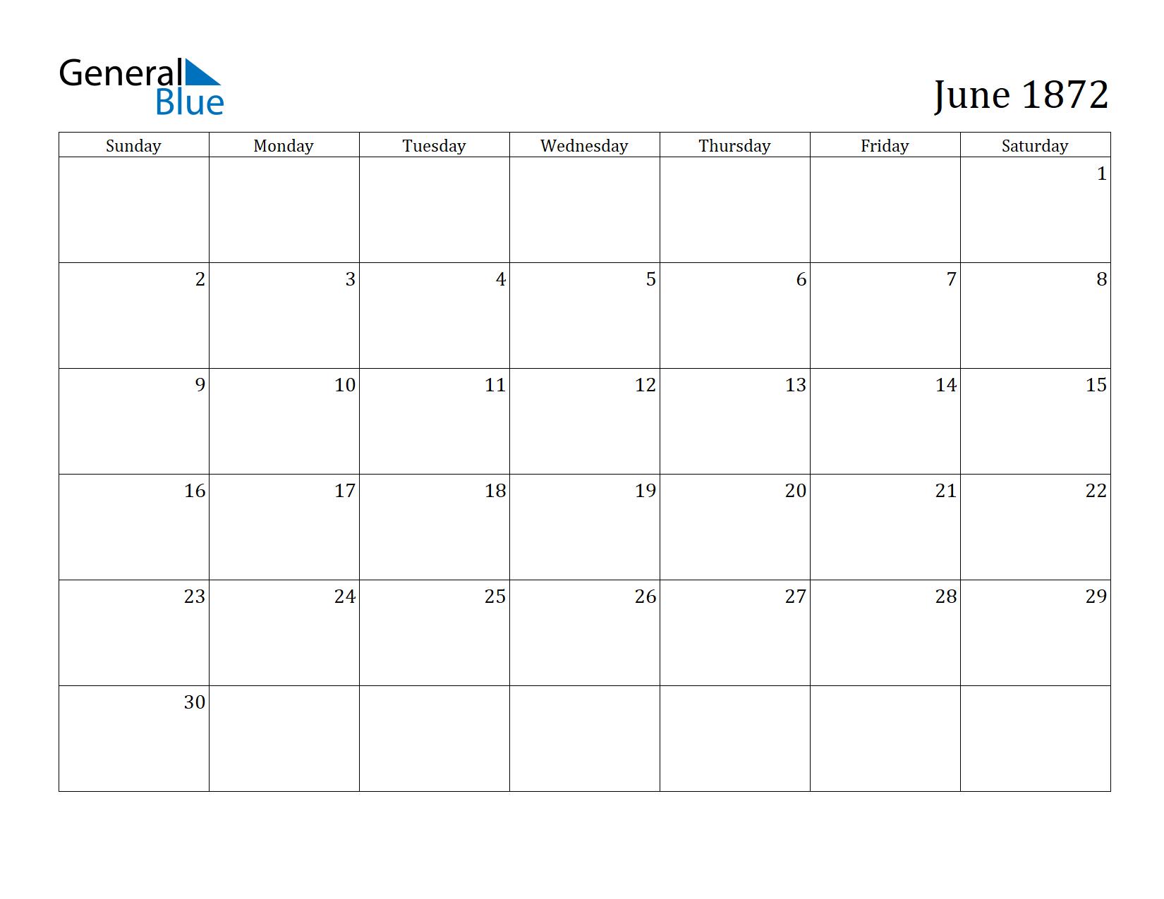 Image of June 1872 Calendar