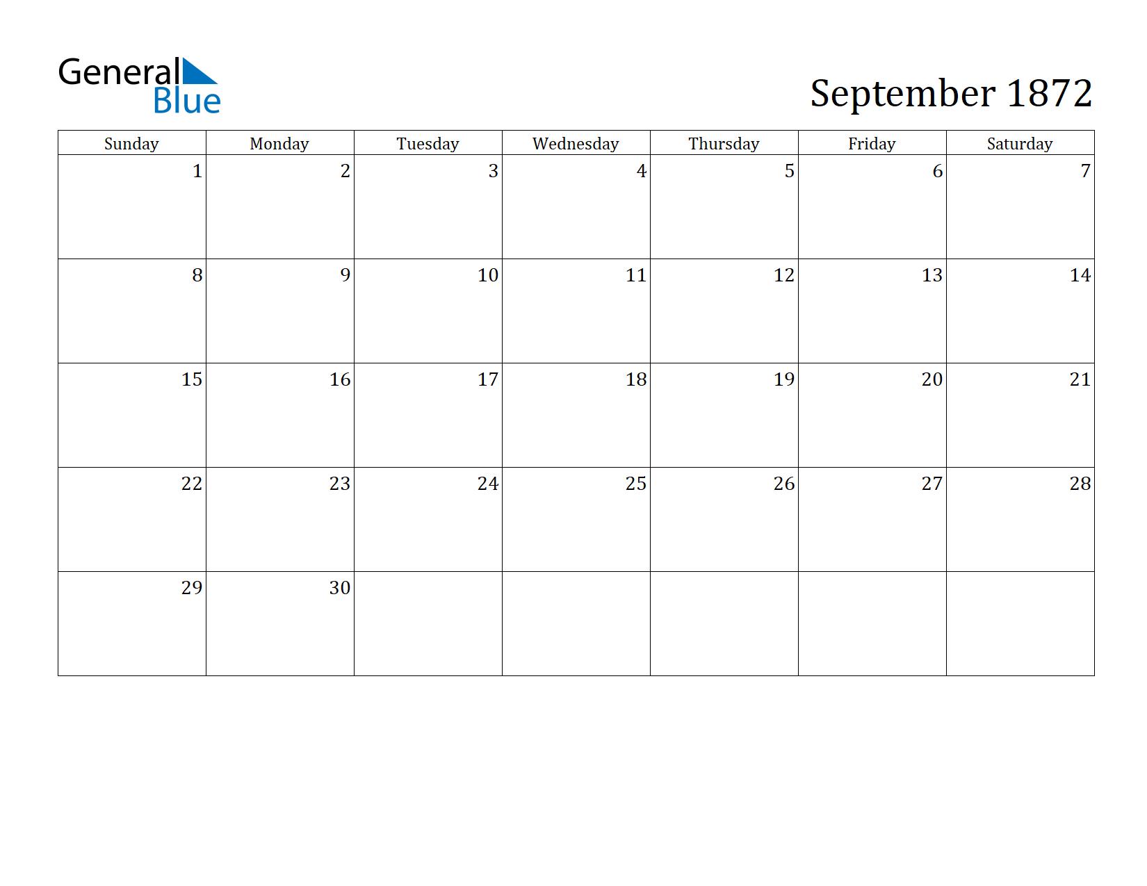 Image of September 1872 Calendar