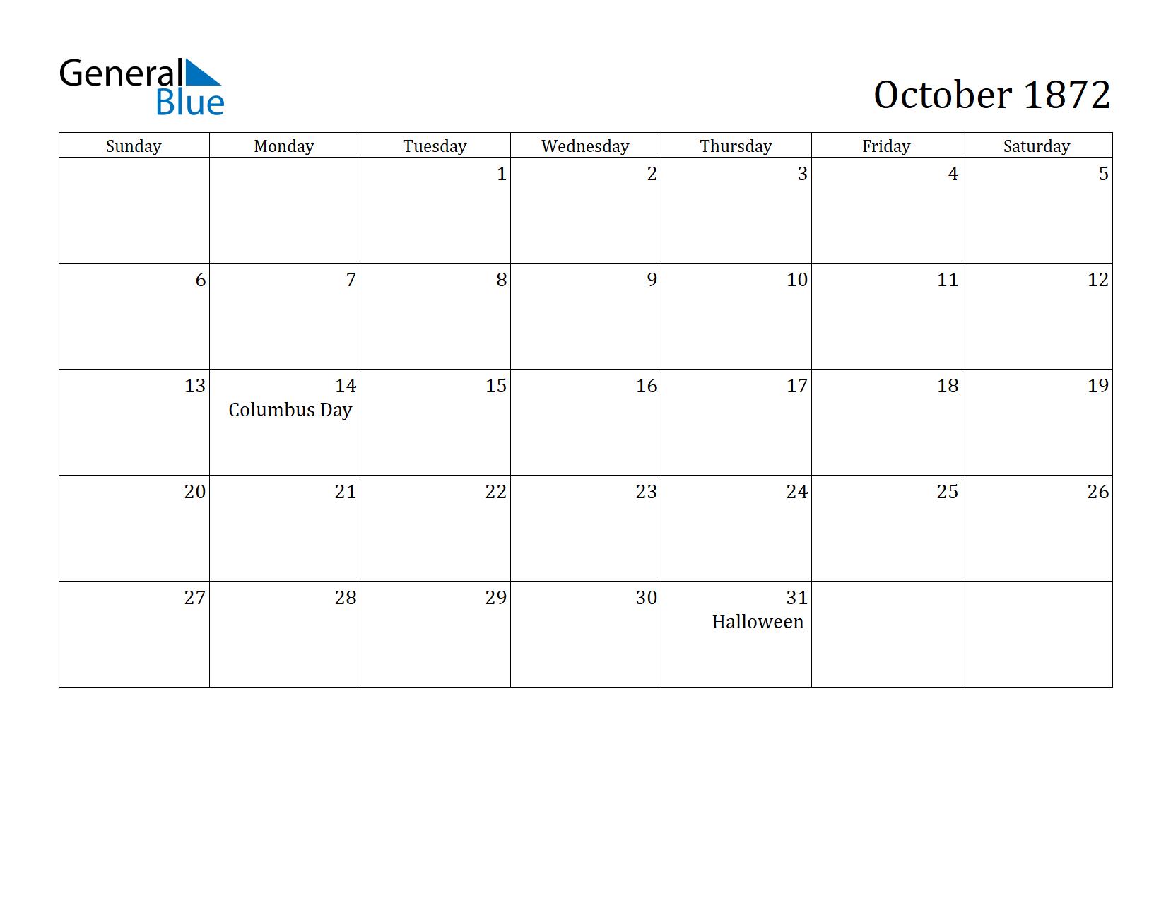 Image of October 1872 Calendar