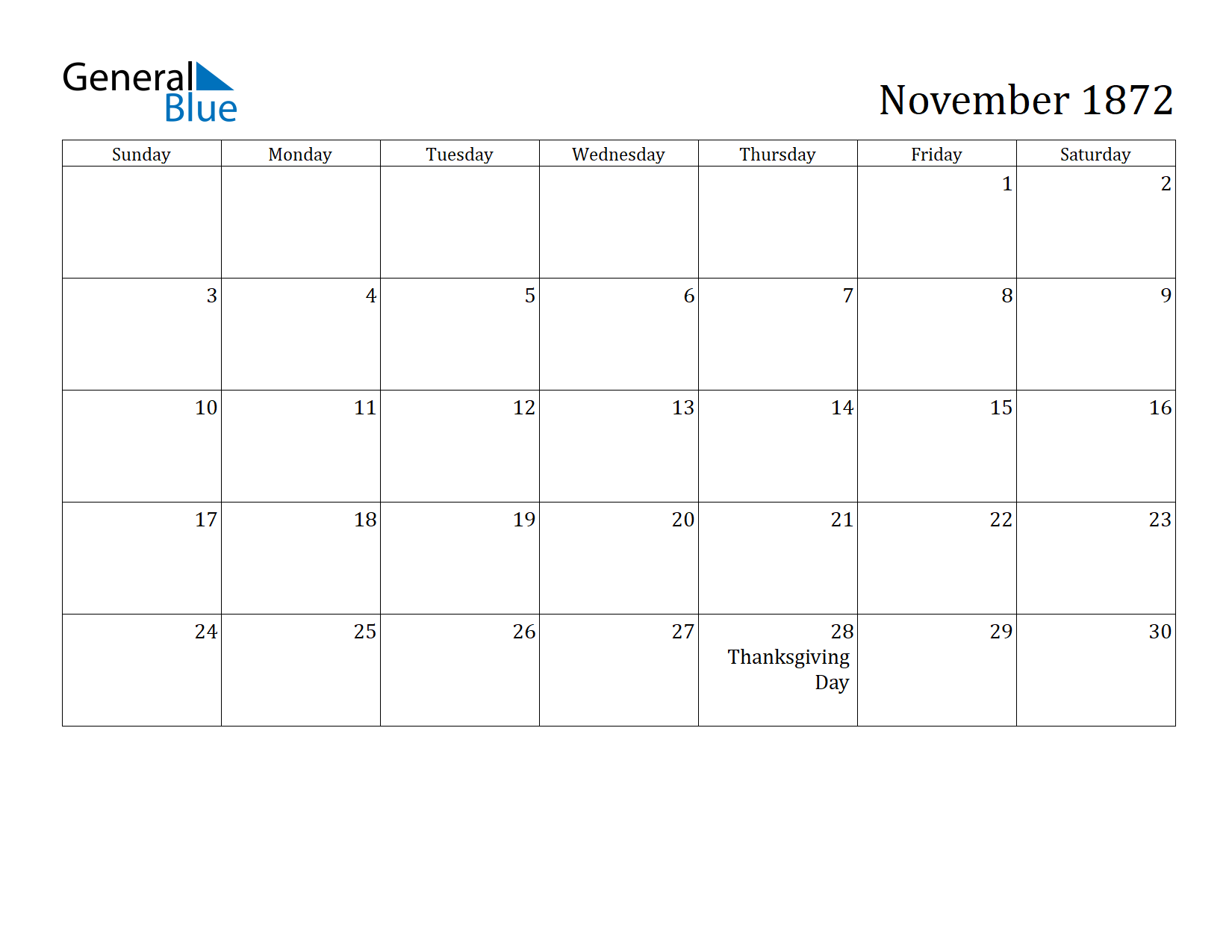 Image of November 1872 Calendar