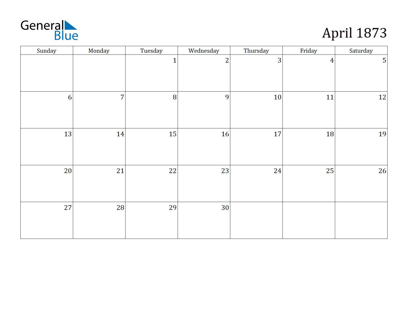 Image of April 1873 Calendar
