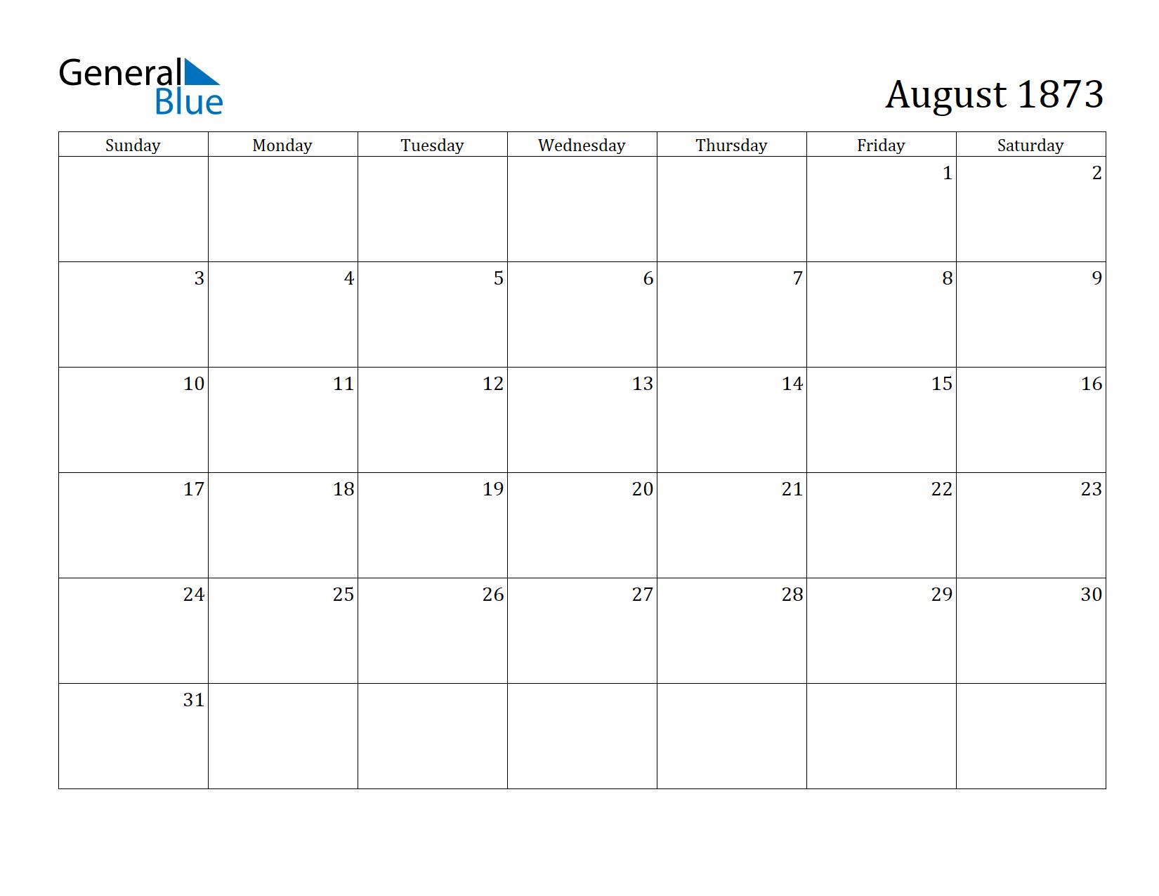 Image of August 1873 Calendar