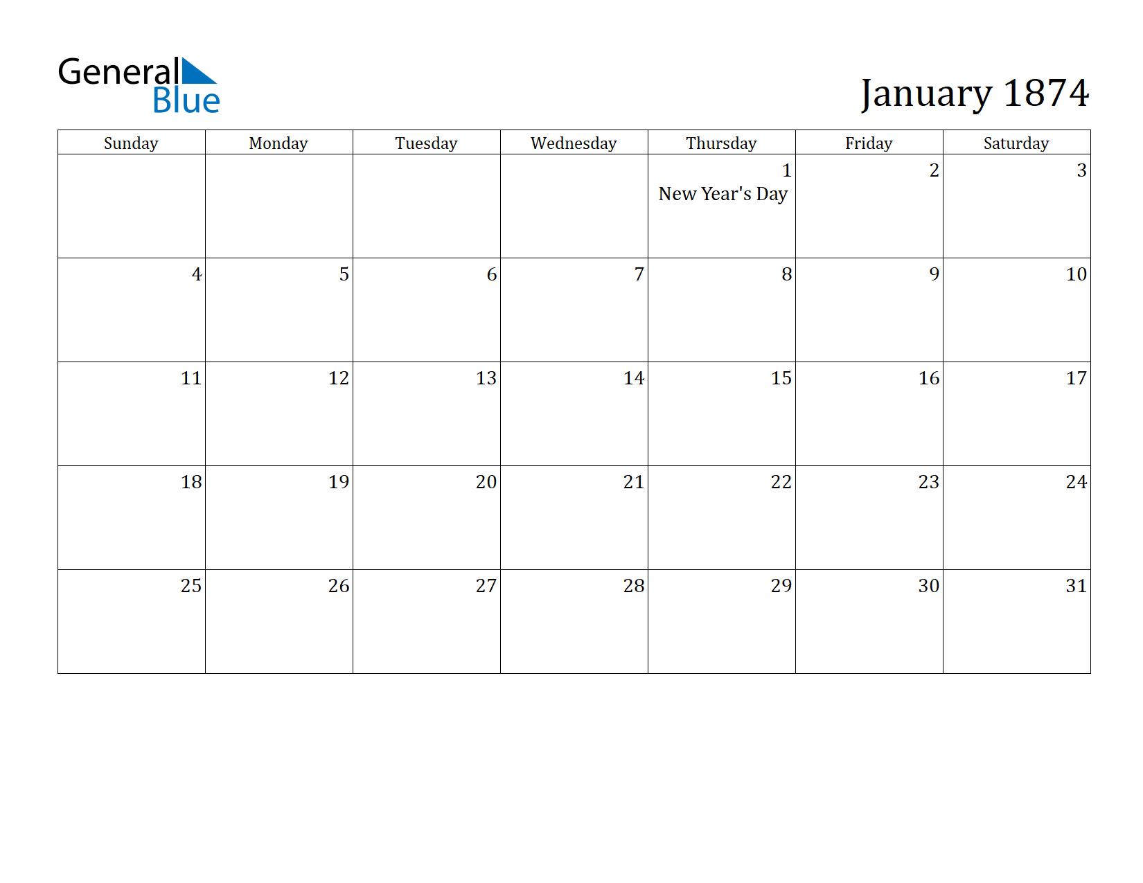 Image of January 1874 Calendar