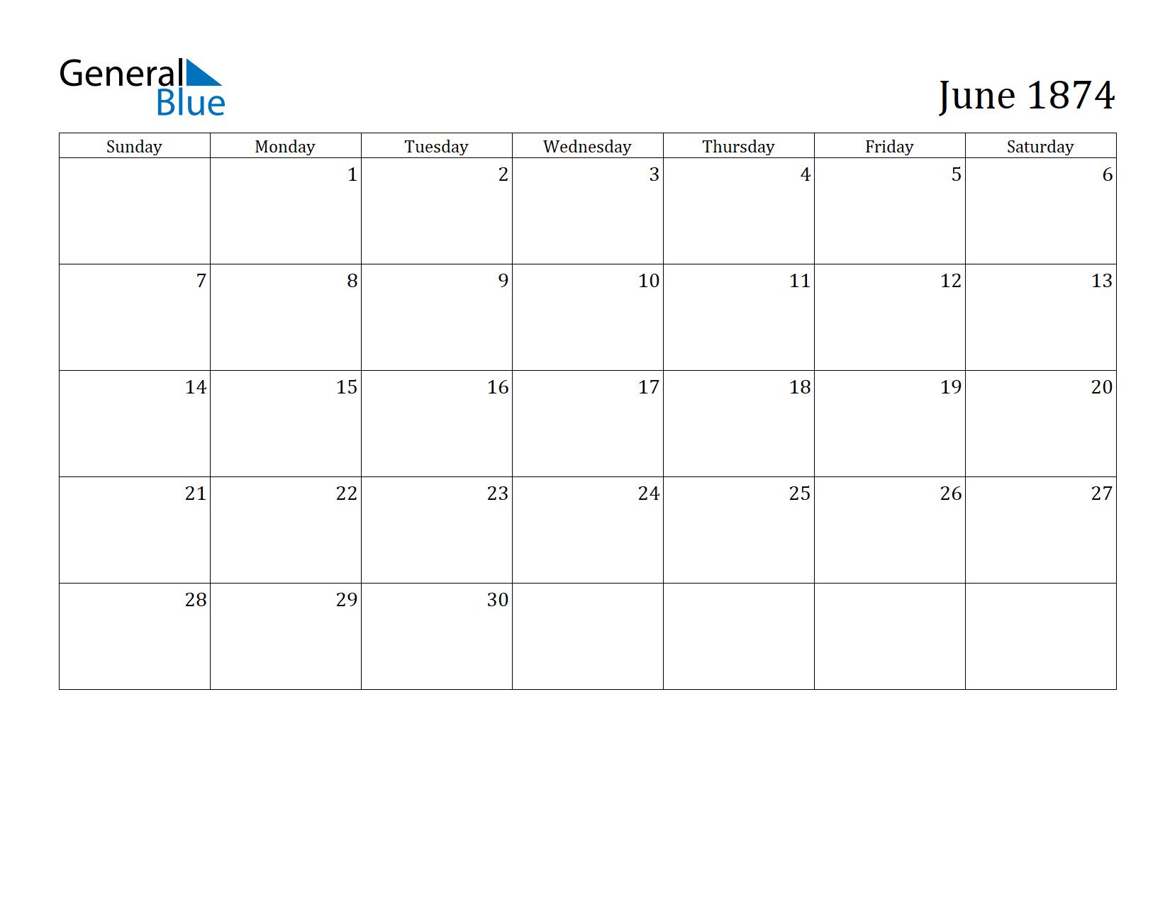 Image of June 1874 Calendar