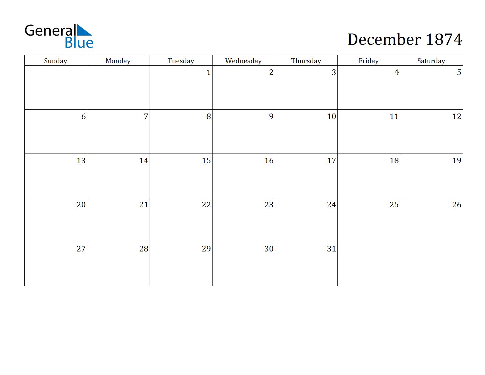 Image of December 1874 Calendar