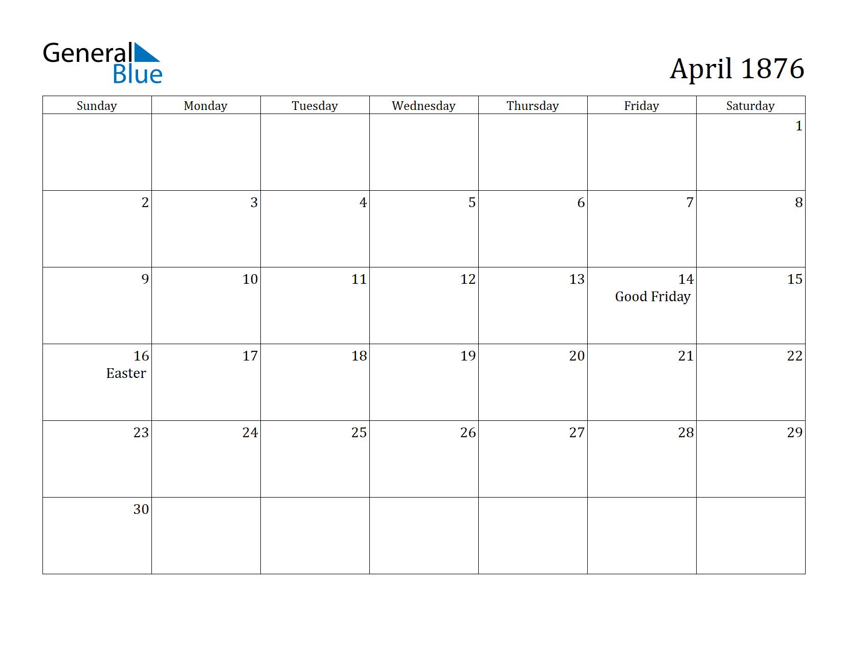 Image of April 1876 Calendar